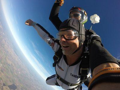 Two men skydiving.