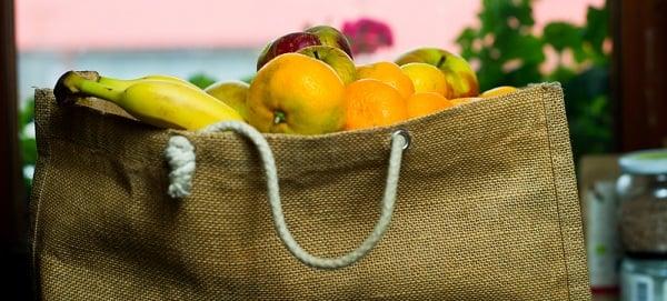 fabric shopping bag full of fruit