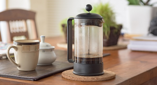 French press on a table