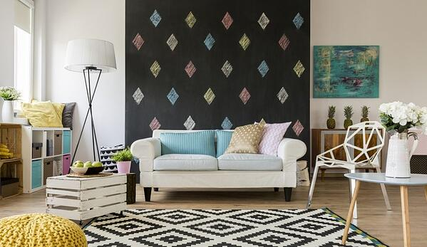 Living room decorated with geometric shapes