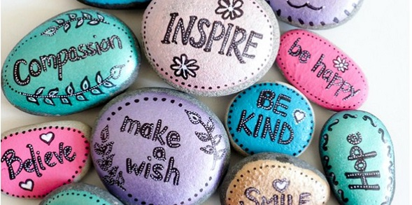 rocks painted with inspirational messages